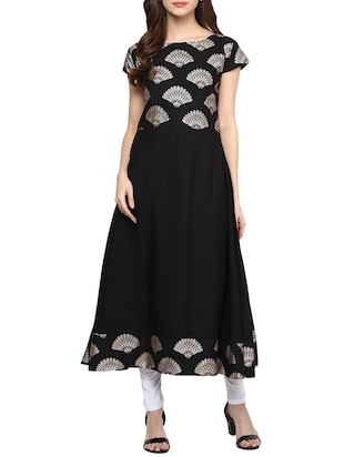 black crepe Flared kurta