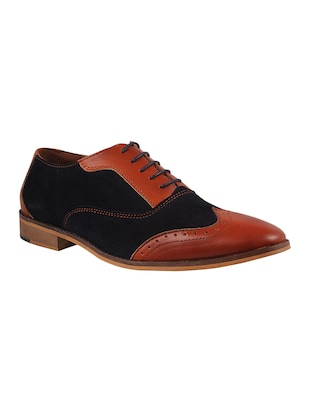 Genuine Leather Tan and Blue Brogues -  online shopping for Brouges