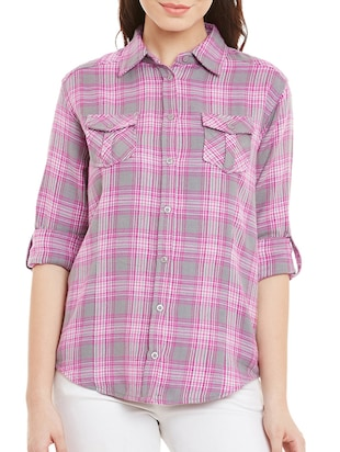 pink checkered cotton regular shirt