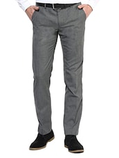 grey polyester flat front trousers formal -  online shopping for Formal Trousers