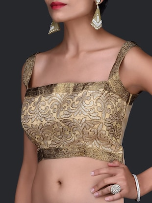 Pale Gold Stitched Zari Blouse