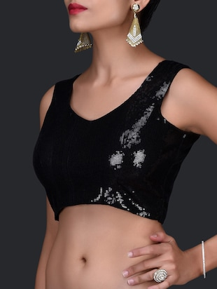 Sequin Embellished Black Stitched Blouse