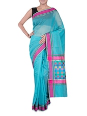 Turquoise Banarasi Saree With Multicoloured Aanchal - By