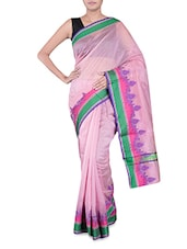 Purple Banarasi Saree With Multicoloured Border - By