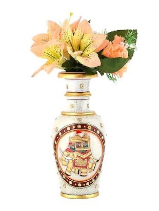 Golden Meenakari Work Marvel in Marble Flower Vase 399