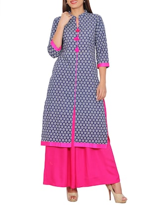 Blue printed cotton straight kurta -  online shopping for kurtas