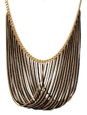 Black And Gold Multi Chain Overlapping Necklace - By