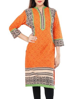 Orange khadi printed straight kurta