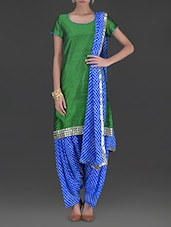 Green And Blue Stitched Patiala Suit Set - By