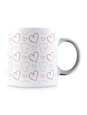 Multicolor Sketchy Hearts Pattern Ceramic Mug - By