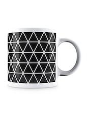 Black Triangle And Black Line Pattern Ceramic Mug - By