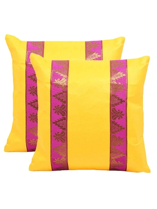 Brocade Striped 2 Pc. Yellow Cushion Covers Set 859