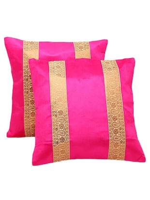 Paisley Design Stripes 2Pc Pink Cushion Covers Set 860