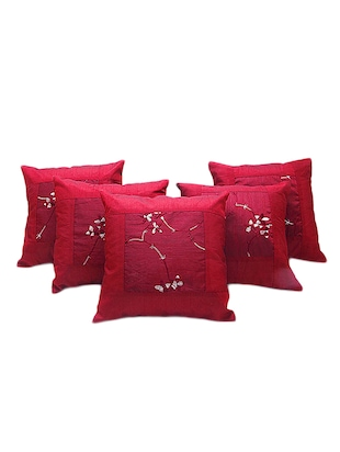 Embroidery Booti Design 5 Pc Red Cushion Cover Set 504 -  online shopping for Cushion Covers