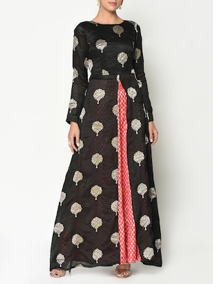 Black kurta and pink lehenga set