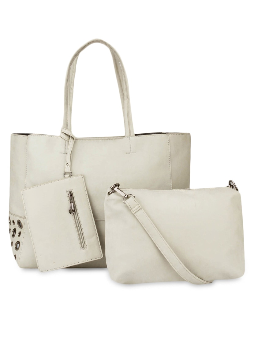 White Leatherette Set Of Bag And Sling Bag - By