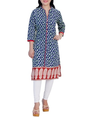blue cotton straight kurti