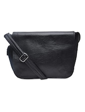 Textured Black Leatherette Sling Bag - By