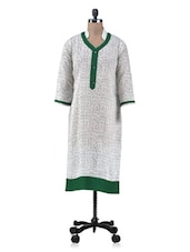 Cream And Green Cotton Printed Kurta - By