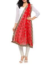 Red Chiffon Banarasi Dupatta - By