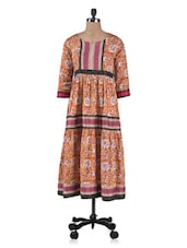 Yellow Cotton Printed Long Kurta With Gathers - By