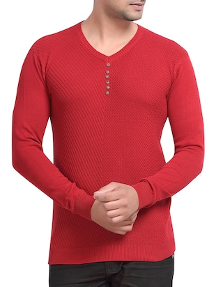 red colored cotton t-shirt