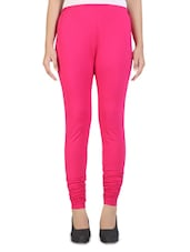 Solid Dark Pink Cotton Leggings - By