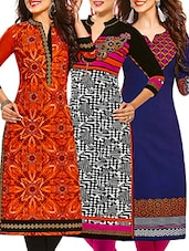 Multi Coloured Cotton Printed Unstitched Kurtas (Set Of 3) - By