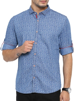 blue denim ditsy floral casual shirt