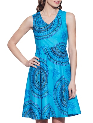 blue cotton dress -  online shopping for Dresses