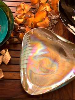 Blue And Orange Heart Shaped Bowl - Murano, The Glassical Symphonies