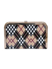 Beige PU With Check Party Clutch - By
