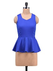 Blue Poly Spandex Knit Plain Stretchable Peplum Top - By
