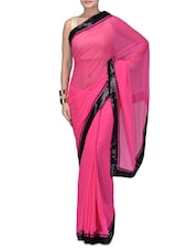 Pink Embroidered Poly Georgette Party Wear Saree - By
