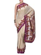 Beige Printed Kadambri Silk Party Wear Saree - By