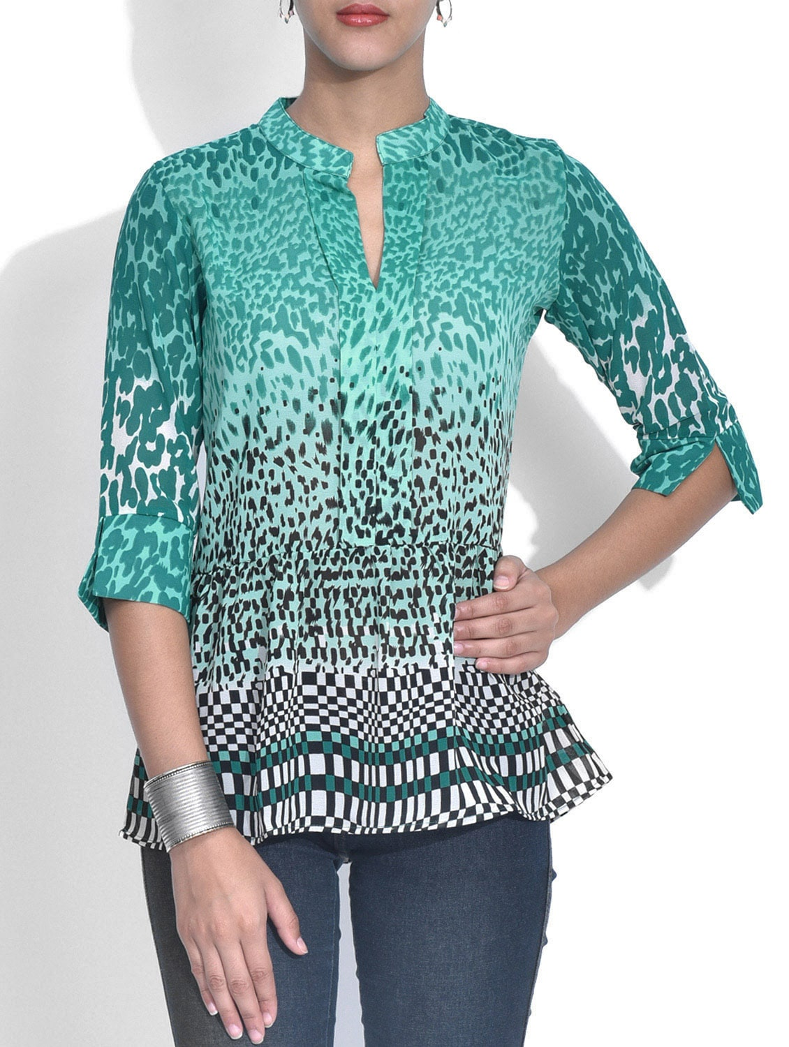 Green Printed Poly Georgette Gathered Top - By