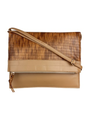 brown leatherette textured foldover sling bag