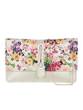 Silver leatherette floral printed clutch -  online shopping for clutches