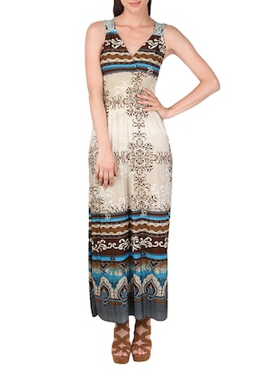 beige printed cotton maxi dress