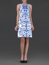 Blue And White Polygeorgette Printed Dress - By