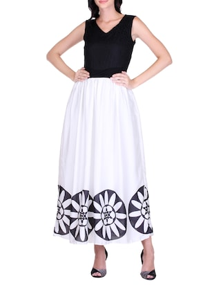 white printed satin maxi dress