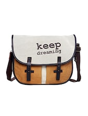 White & orange canvas printed sling bag -  online shopping for sling bags