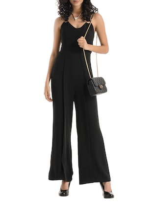black polyester full leg  jumpsuit