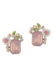 pink metal studs earring -  online shopping for Earrings