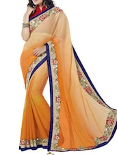 Orange And Peach Shaded Art Silk Saree - By