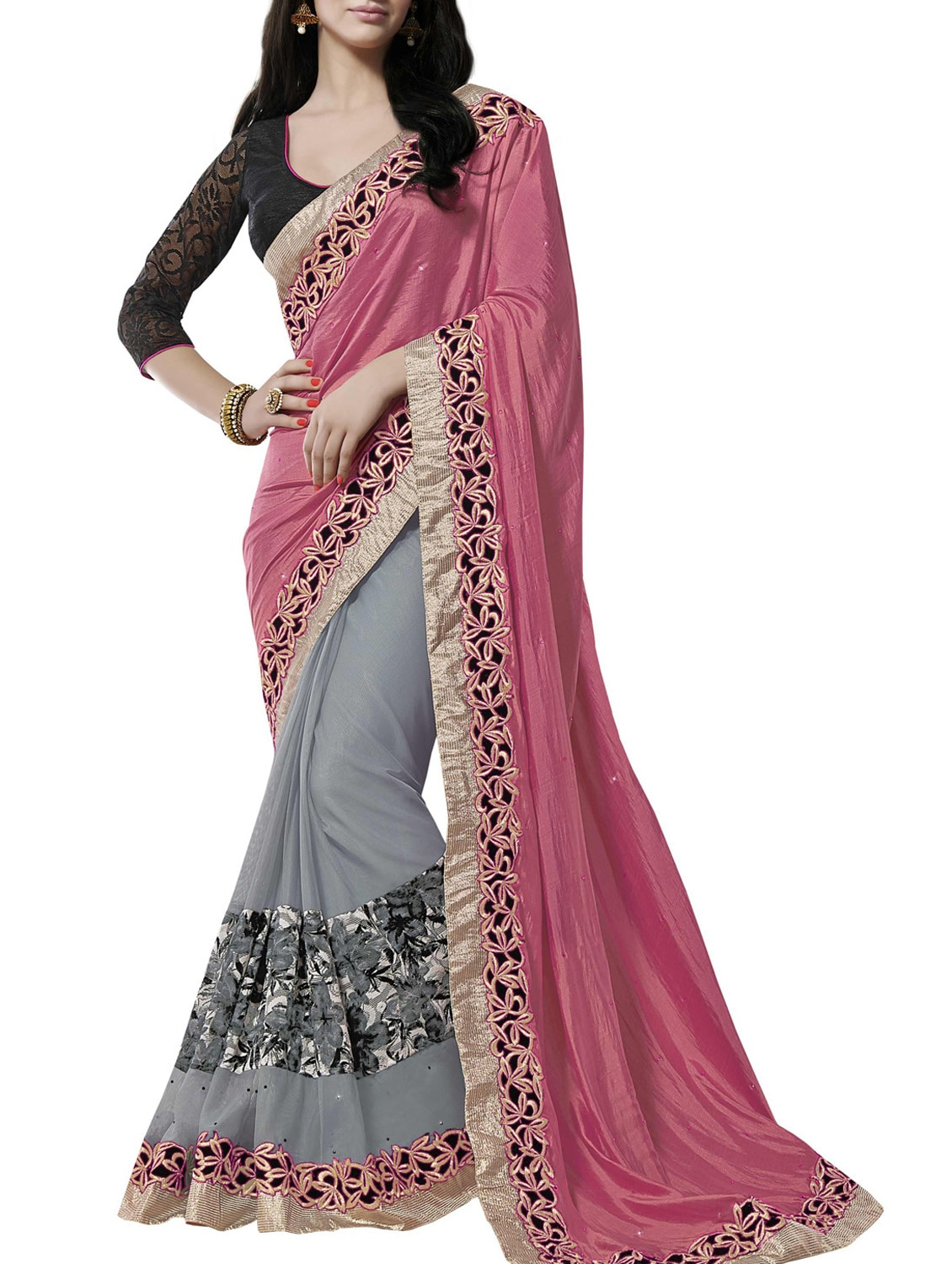 Rose Pink And Grey Zari Work Saree - By
