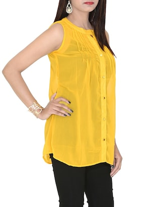 yellow georgette regular top - 12577850 - Standard Image - 2