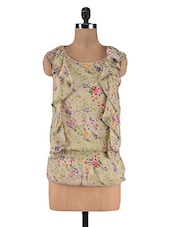 Beige Chiffon Floral Printed Ruffled Top - By