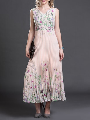 pink floral printed georgette gown dress
