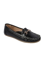 Black Spandex Slip On Loafers - By